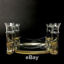 Centre de table doré ancien incluant 4 petits vases en verre ou cristal gravé