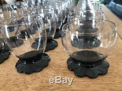 DAUM NANCY 36 verres ancien estampillés, pied floral