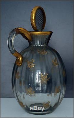 DAUM, rare carafe ancienne en cristal Daum à décor de chardons
