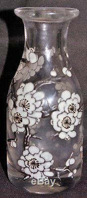 DELVAUX ANCIEN VASE BOUTEILLE VERRE ÉMAILLÉ FLEURS de CERISIER JAPONISANT XIXème