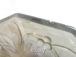 Daum Ancien Plat Coupe A Fruit Verre Fume Presse Moule Oiseau Art Deco C Monet
