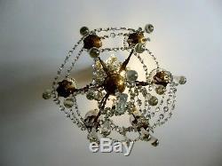 Élégant Et Ancien Lustre Bronze Et Pampilles Cristal 19 Eme