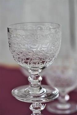 Ensemble de 6 verres à vin cuit en cristal de Baccarat modèle Rohan anciens