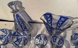 Ensemble de verres carafe et pichet ancien