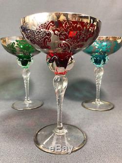 Exceptionnelle Série De 5 Verres Anciens En Cristal D'une Hauteur De 18 CM