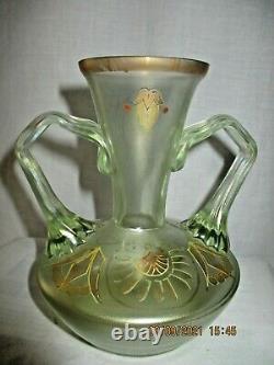 Fritz Heckert, ancien vase Art Nouveau signé en verre irisé decor doré vers 1900