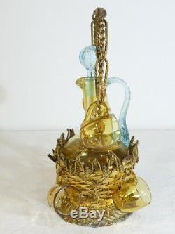 GEORGES SAND Ancien service en verre soufflé dans son panier doré