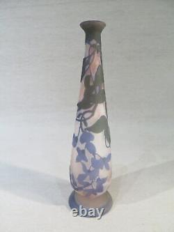 Galle Ancien Joli Vase Soliflore Multi Couche Art Nouveau 1900 Fleurs