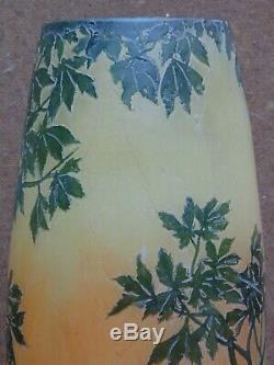 Gallé daum rare ancienne grande paire vase cygnes dégagé a l acide signé LEGRAS