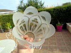 Globe Tulipe Cristal Lampe à Pétrole décor Floral Relief Oil Lamp Glass Ancien