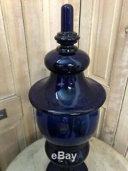 Grand Pot a Pharmacie Couvert Bleu Cristal Verre Ancien Napoléon III XIXeme
