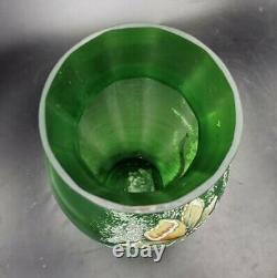 Grand Vase Ancien Verre Vert Emaille Fleurs Narcisse Art Nouveau Legras 1900