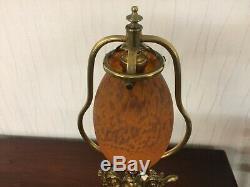 Grande lampe Lyre Pâte de verre Ancien Delatte Nancy h52cm