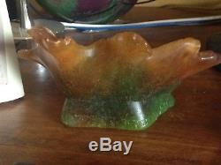 Grande pâte de verre ancienne Daum non signée 1100 grammes 18cmx11cmx7cm