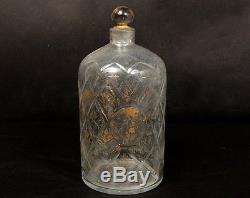 Gros flacon ancien bouchon verre soufflé dorure fleurs médaillons XVIIIème