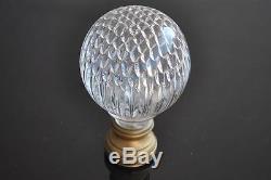 Grosse boule d'escalier ancienne en verre soufflé début XIXème