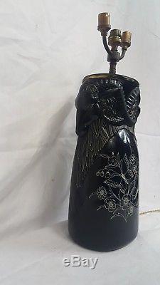 Henri DIEUPART ancien PIED de LAMPE 1928 Verre Emaille VASE aux BELIERS Noir K