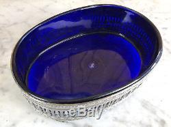 Jardinière / Coupelle Ancienne En Argent Massif (226gr) Et Cristal Bleu