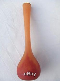 Joli Ancien vase soliflore en pate de verre signé DAUM NANCY