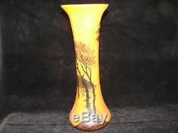 Joli ancien vase décor bateaux, arbres, lac, Legras, 34,5 cm
