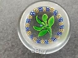 Jolie ancienne sulfure, presse-papier, paperweight, fleur, 5 feuilles