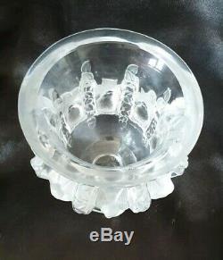 LALIQUE France Ancien Vase Dampierre, moineaux cristal