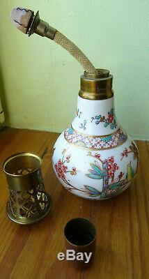 LAMPE signé BERGER PARIS, rare decor KAKIEMON ancien de Bocquillon PORCELAINE
