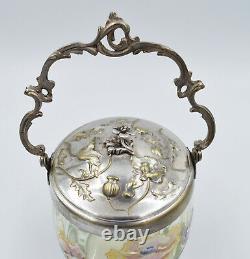 LEGRAS Seau ou pot à biscuits ancien verre émaillée de fleurs
