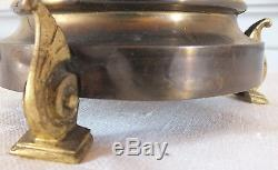 Lampe ancienne opaline bleue monture bronze