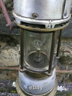 Lampe de mineur ancienne, Arras, verre Baccarat Cristal NORD MINE