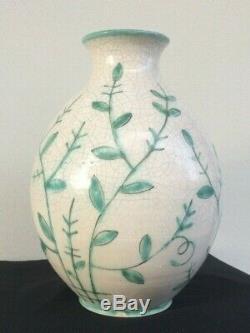 Large vase GUSTAVSBERG signed craquelé scandinave Suède Sweden ancien