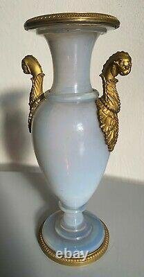 Le Creusot Ancien vase en opaline bulle de savon et bronze Charles X opale
