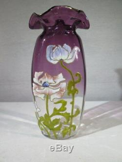 Legras Ancien Tres Joli Vase En Verre Emaille Degrade Violine Decor Fleurs 1900