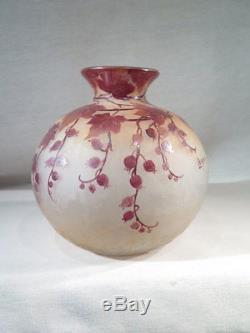 Legras Ancien Vase Boule En Verre Degage A L'acide Art Nouveau Vers 1900