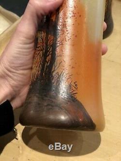 Legras Paire Vase Peint Emailles Ancien Verre