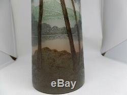 Legras Signé Ancien Émaillé Forêt Art Verre Vase! Superbe! 13-1.3cm Grand