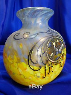 Legras, Vase Ancien En Pte De Verre Marmoreen Decor Email Papillon Ref 5496