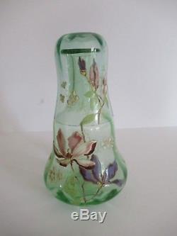 Legras, ancienne carafe verre de nuit en verre émaillée