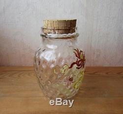 Legras bocal ou pot émaillé à décor de chrysanthèmes superbe ancien vase