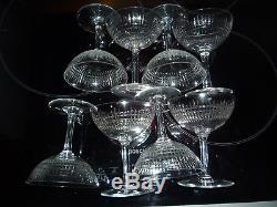 Lot 8 Coupes Champagne Anciens A Eau Baccarat Modele Nancy Cristal