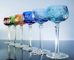 Lot Anciennes 6 Calice A Vin Cristal Couleur Berncastel Val St Lambert