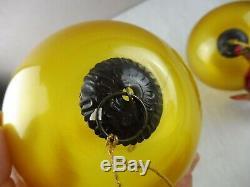 Lot de 3 anciennes boules de Noël, en verre églomisé mercurisé, Meisenthal, 19èm