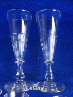 Lot de 8 verres a champagne ancien cristal époque Louis Philippe 19e siecle