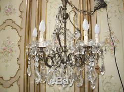Lustre Ancien En Laiton Style Marie Antoinette Cristal Et Verre-6 Lampes-n°to63