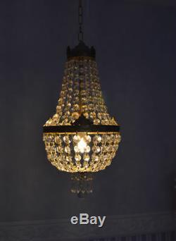Lustre Pampilles verre ancien cristal montgolifiere laiton plaffonier corbeille