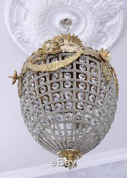 Lustre Plafonnier cristal verre shabby chic antique baroque ancien montgolfiere