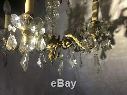 Lustre ancien à pampilles, laiton et cristal ou verre en bon état