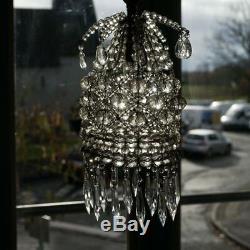 Lustre ancien en cristal verre avec Pampilles
