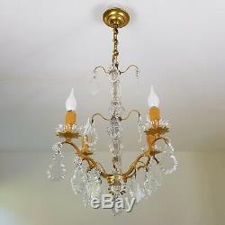 Lustre ancien fut verre pampille en cristal 4 branches