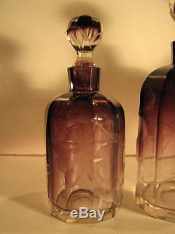 MOSER a Karlsbad Flacons ANCIENS Art Nouveau Cristal taillé Crystal Kristall